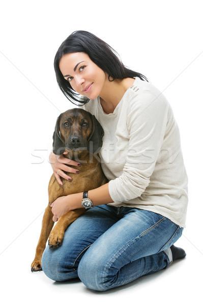Güzel kız köpek güzel genç kadın dağ tazı Stok fotoğraf © svetography