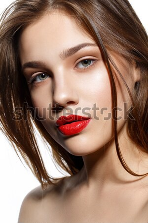 Beautiful girl lábios vermelhos belo mulher jovem naturalismo make-up Foto stock © svetography