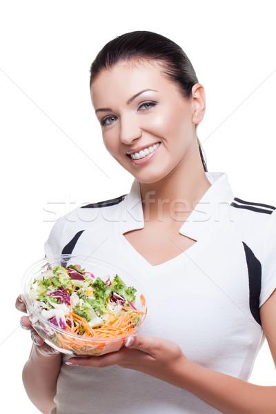 Beautiful girl with salad Stock photo © svetography