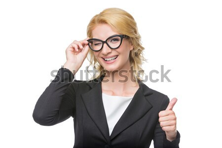 Beautiful business lady in glasses Stock photo © svetography