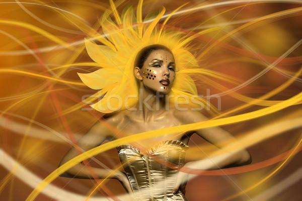 Mooie zon meisje jonge vrouw creatieve heldere Stockfoto © svetography