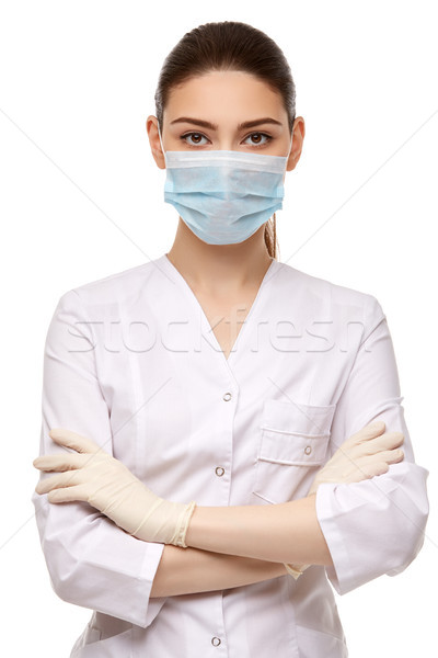 Frau Arzt Gummihandschuhe isoliert weiß schöne Frau Stock foto © svetography
