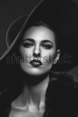 Güzel kız kürk şapka güzel genç kadın Stok fotoğraf © svetography