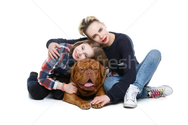 девочек большой коричневая собака матери дочь случайный Сток-фото © svetography