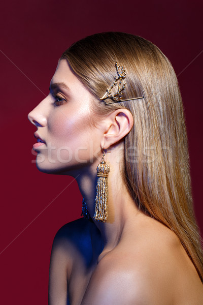 beautiful girl with long earrings Stock photo © svetography