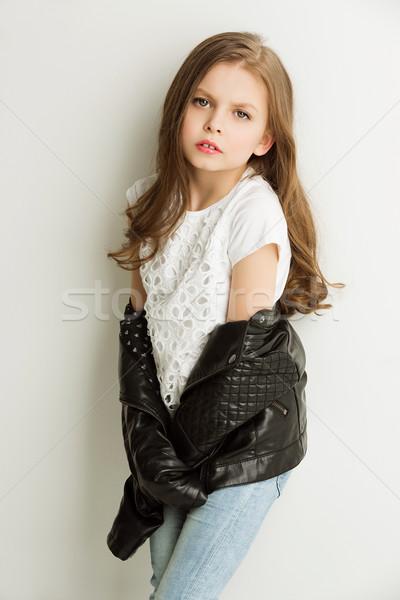 Fille noir petite fille mode veste Photo stock © svetography