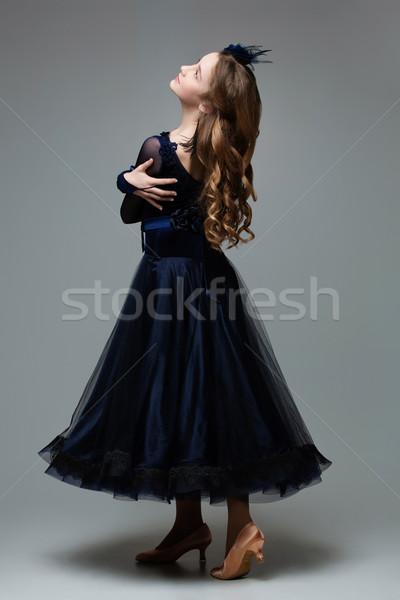 Gyönyörű tini bálterem táncos profil tinédzser Stock fotó © svetography