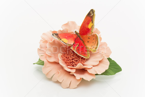 Kelebek oturma çiçek yapay beyaz yaz Stok fotoğraf © svetography