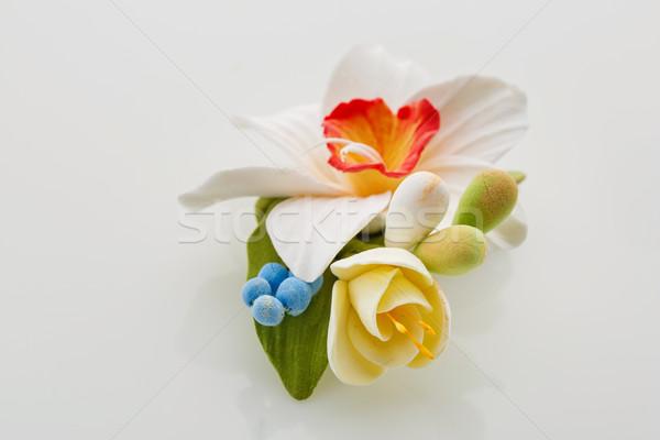 Mooie bruiloft handgemaakt kunst klei lentebloem Stockfoto © svetography