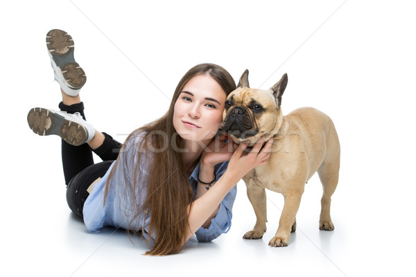 Beautiful girl with french bulldog Stock photo © svetography