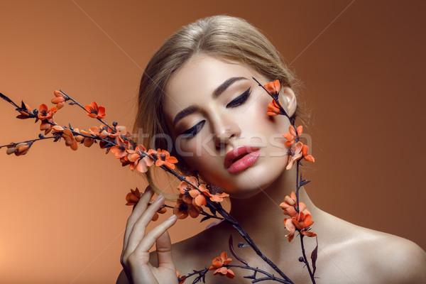 Piękna dziewczyna sakura oddziału piękna młoda kobieta makijaż Zdjęcia stock © svetography