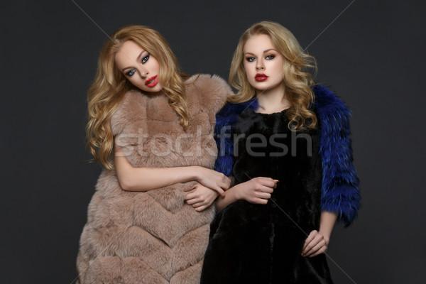 Twee mooie meisjes mode bont jonge vrouwen Stockfoto © svetography