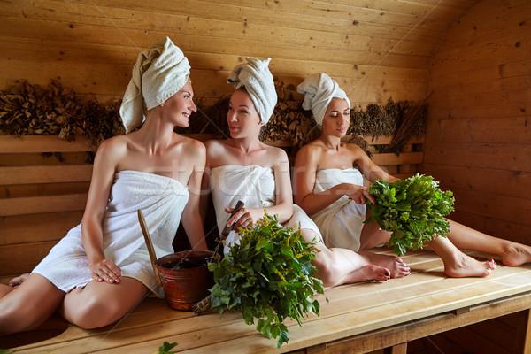 три девочек расслабляющая сауна красивой Сток-фото © svetography