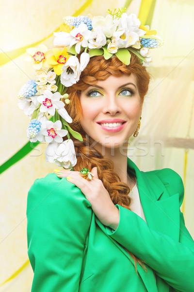 Stockfoto: Voorjaar · bruid · mooie · jonge · vrouw · groene · mode