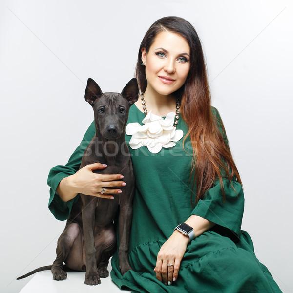 Stok fotoğraf: Kadın · Taylandlı · köpek · yavrusu · güzel · genç · kadın · siyah