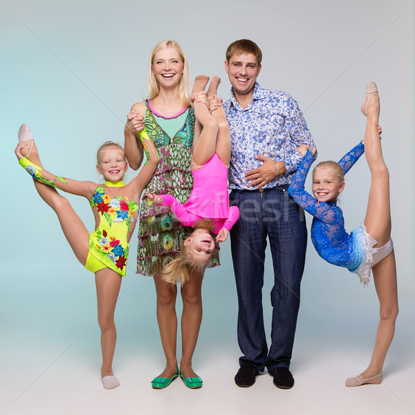 Smiling family doing sport Stock photo © svetography