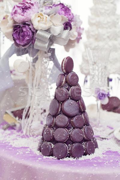 Macaron свадебный торт красивой Purple вместе Сток-фото © svetography