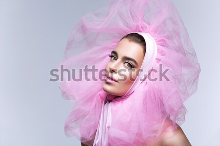 Beautiful girl in crystal crown and veil Stock photo © svetography