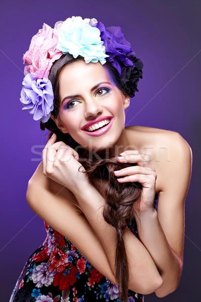 Beautiful girl roxo make-up belo mulher jovem olho Foto stock © svetography