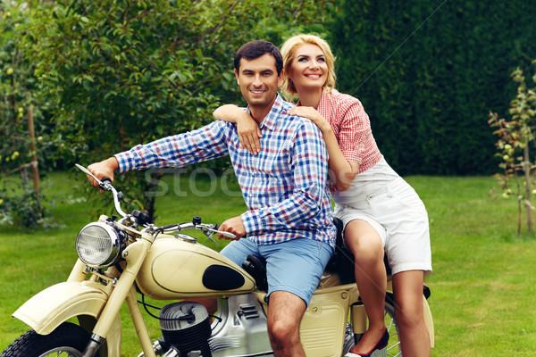 Güzel çift Retro motosiklet güzel bir kadın adam Stok fotoğraf © svetography