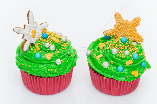 Christmas tree cupcakes Stock photo © svetography
