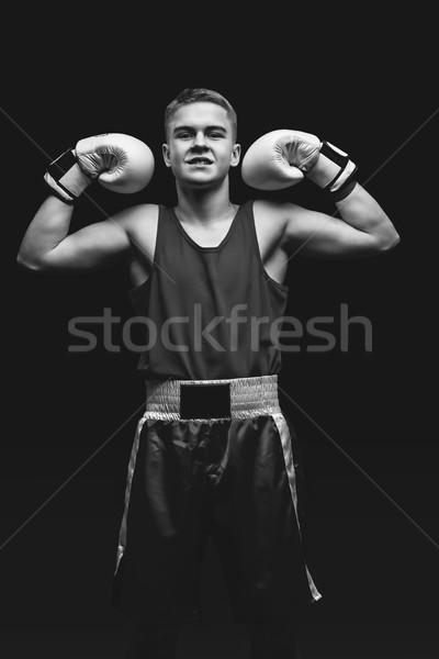 Fiatal boxoló sportoló fekete jóképű fehér Stock fotó © svetography