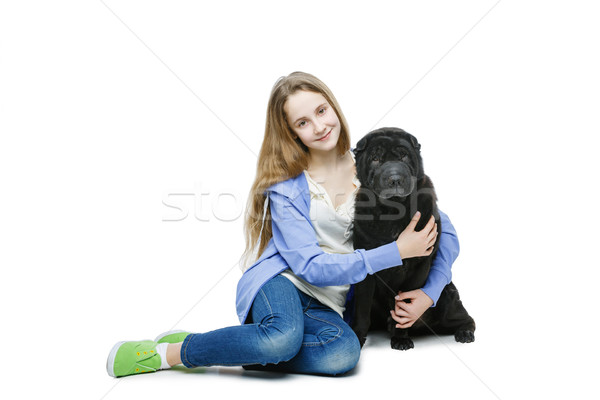 Teen age girl with dog Stock photo © svetography