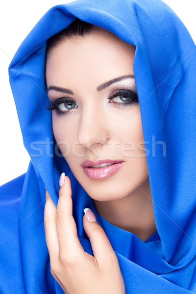 Beautiful girl in blue shawl Stock photo © svetography