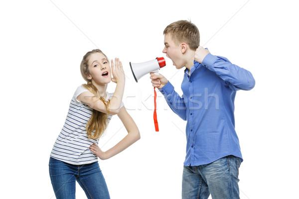 Broer schreeuwen zus teen leeftijd jongen Stockfoto © svetography