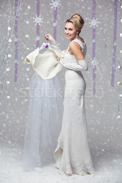 Beautiful bride in felted gown Stock photo © svetography