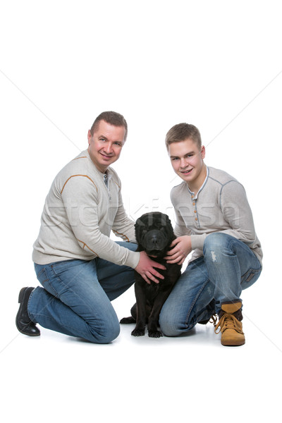 Father and son with dog Stock photo © svetography