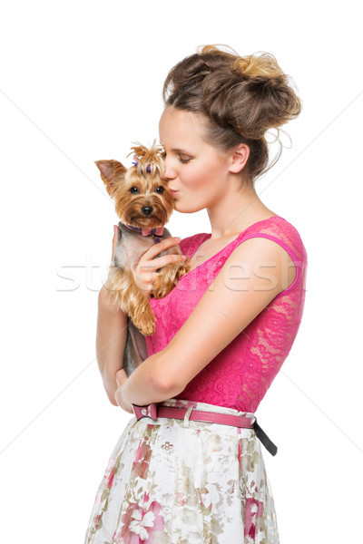 Kız köpek güzel genç genç kız üst Stok fotoğraf © svetography