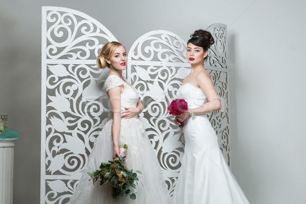 Piękna dziewcząt suknia ślubna brunetka blond młodych kobiet Zdjęcia stock © svetography
