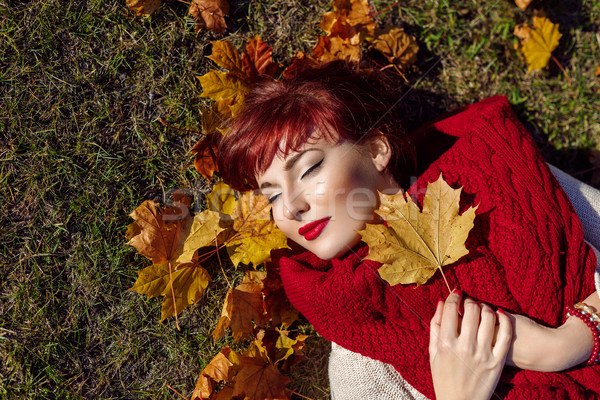 девушки осень Maple Leaf красивой Сток-фото © svetography