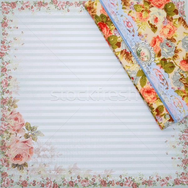 Scrapbooking holder for travel documents on floral paper Stock photo © svetography