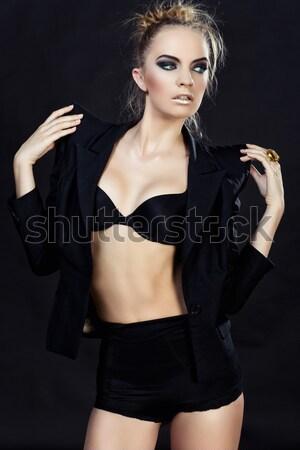 Beautiful girl in black swimwear Stock photo © svetography
