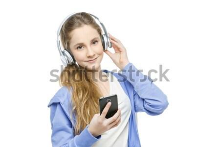 Adolescente idade menina fones de ouvido belo feliz Foto stock © svetography