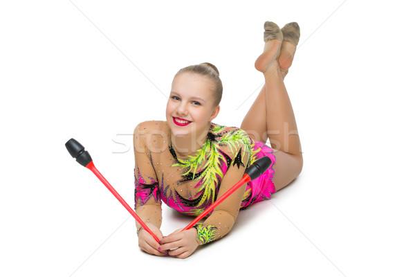 Stock photo: Beautiful teenage gymnast girl