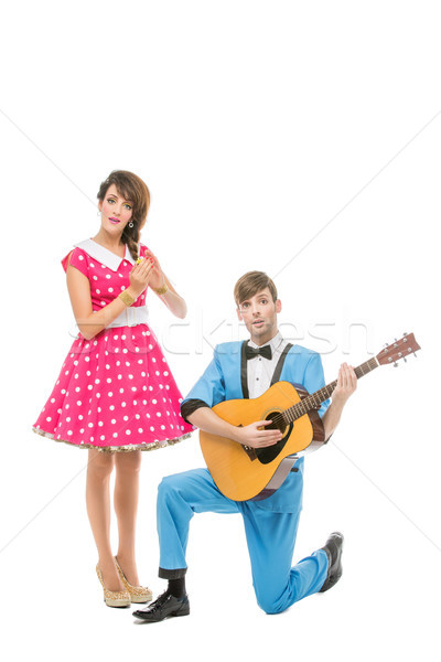 doll looking boy and girl with guitar Stock photo © svetography