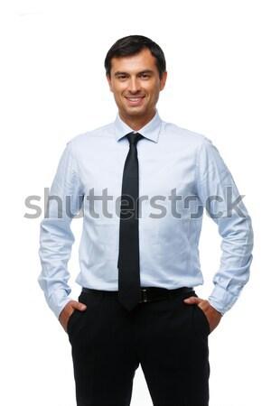 Yakışıklı işadamı mavi gömlek genç kravat Stok fotoğraf © svetography