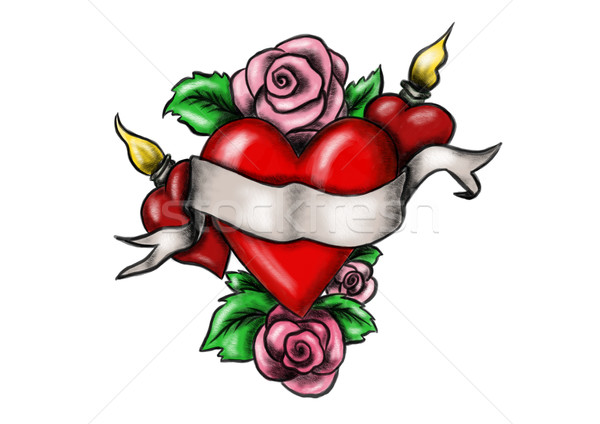 Рисунок роза и сердце