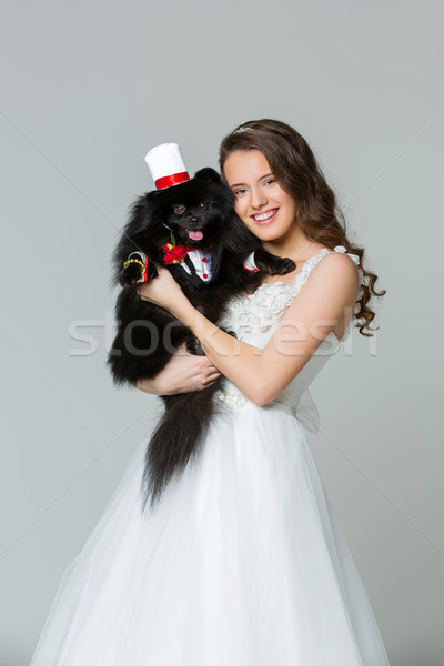 bride girl with spitz goom in wedding suit Stock photo © svetography