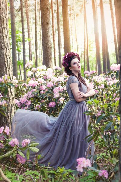 girl in dress in rhododendron garden Stock photo © svetography