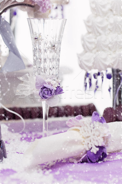 Cristallo wedding champagne vetro bella decorato Foto d'archivio © svetography