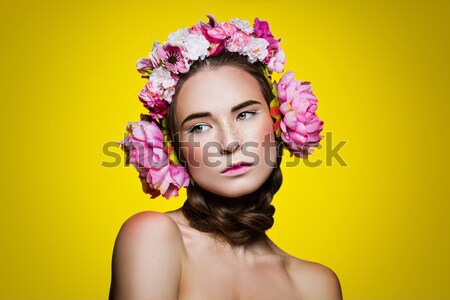 Beautiful girl with bright make-up and pink hat Stock photo © svetography