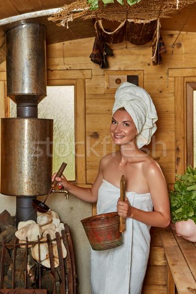 Beautiful girl relaxante sauna belo mulher jovem toalhas Foto stock © svetography