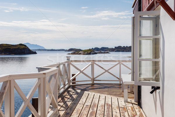 View on scandinavian fjords from terrace Stock photo © svetography
