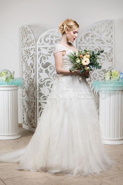 Stockfoto: Mooi · meisje · trouwjurk · mooie · blond · jonge · vrouw · witte