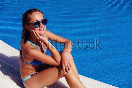 Bella ragazza nero bikini bella bruna Foto d'archivio © svetography