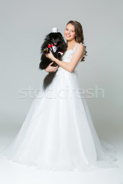 bride girl with spitz goom in wedding suit Stock photo © svetography
